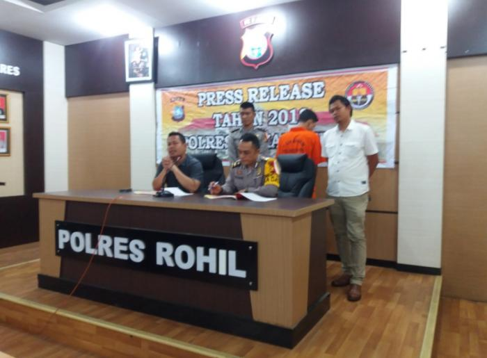 Polres Rohil Gelar Press Release Triwulan Narkotika Operasi Antik Muara Takus 2018